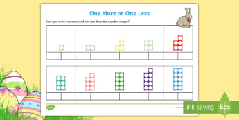 One More One Less Easter Themed Number Shapes Activity Sheets - one more, one less, fewer, number shapes, worksheet, numicon,