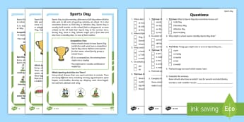 KS1 Sports Day Differentiated Reading Comprehension Activity - Activities, P.E., Race, Facts, Information, Non-fiction, Real life, Questions