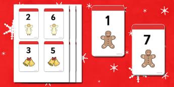 Christmas Number Bonds to 8 Matching Cards - Number Bonds, Matching Cards, Clothing Cards, Number Bonds to 8, Christmas, xmas, tree, advent, nativity, santa, father christmas