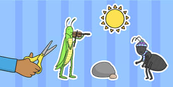 The Ant and the Grasshopper Story Cut Outs - grasshopper, ant