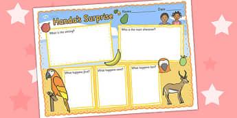 Handas Surprise Book Review Writing Frame - handas surprise, book review, writing frame, book review writing frame, writing aid, writing template, writing