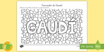 Trencadís de Gaudí - Colorea - Gaudí, modernismo, arte, proyecto de arte, arquitectura,Spanish