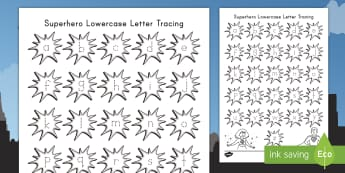 Superheroes Lowercase Letters Tracing Activity Sheet - comics, worksheet,comic books, letter tracing, lowercase letters, activity sheet, letter tracing act