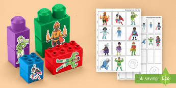 Superheroes Mix and Match Connecting Bricks Game - lego, duplo, superheroes, mix and match, connect, bricks