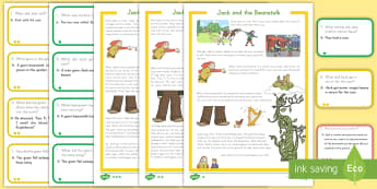 Jack and the Beanstalk Differentiated Story and Comprehension Question Cards - Jack and the Beanstalk, differentiated activity, story cards, question cards, answer cards, reading