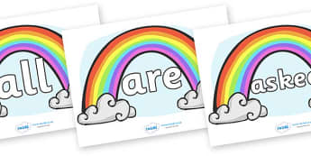 Tricky Words on Rainbows - Tricky words, DfES Letters and Sounds, Letters and sounds, display, words