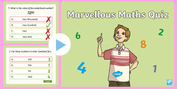 LKS2 Marvellous Maths Quiz PowerPoint - range of skills, questions, calculations, measures, place value