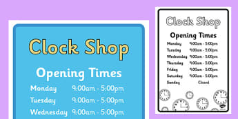 Clock Shop Role Play Opening Times - clock shop, role play, clock, shop, roleplay, opening times