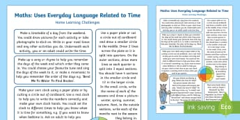 EYFS Uses Everyday Language Related to Time Home Learning Challenges - EYFS Uses Everyday Language Related to Time, shape space measure, SSM, home learning, homework, pare