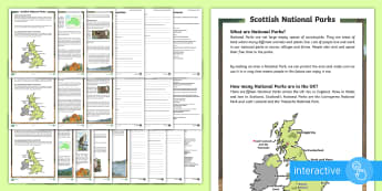 Scottish National Parks Differentiated Go Respond Activity Sheets - CfE National Parks Week (24th July 2017), Scotland, physical features, nature, landscapes, mountains
