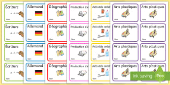 Étiquettes de cahier modifiables - nom, cahier, organisation, rangement, cycle 1, cycle 2, cycle 3, labels, ,Australia