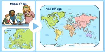 Pŵerbwynt Map o Brydain, Ewrop a'r Byd - pwerbwynt map o brydain, ewrop a'r byd. Prydain, Ewrop, Map o'r Byd,Welsh
