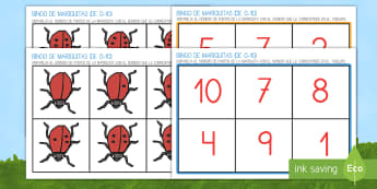 Bingo: Las mariquitas del 1 al 10 Bingo - libélula, abeja, caracol, hormiga, típula, escarabajo, mariposa, oruga, gusano, mariquita, cochini