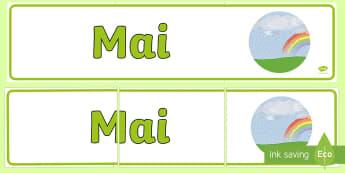 Mai Banner - lunile anului, decorul clasei, activități, panoul clasei, activități lunare,Romanian