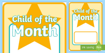 Child of the Month  Display Poster - Star of the Day & Week Display Posters - Star of the day, certificate, foundation, good behaviour aw