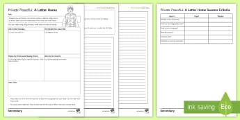 A Letter Home Activity Sheet to Support Teaching on 'Private Peaceful' by Michael Morpurgo - private peaceful, morpurgo, war, letter writing, KS3 literature, worksheet, empathy
