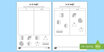 Is It Half? Activity Sheet, worksheet