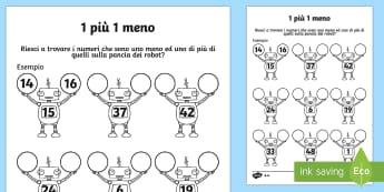 1 in piu uno in meno attivita dei robot della matematica - uno, piu, meno, numeri, matematica, esercizio, italiano, italian, elementari