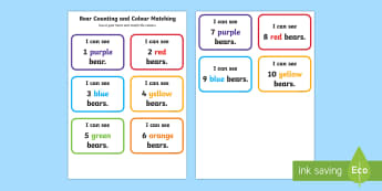 Comparing Bears Colour Matching Number Activity Sheet - New Zealand Back to School,colours,numbers,recognition,compare bears,group activities