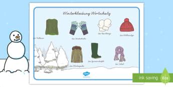 Winter Wortschatz: Querformat - Winter Wortschatz Querformat, Winter, Winterzeit, Winter Wortschatz, Winter Wörter, Winter Vokabula