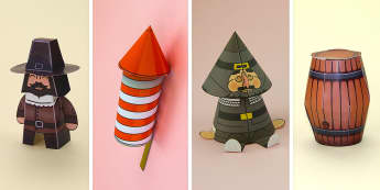 Simple 3D Bonfire Night Guy Fawkes Activity Pack Paper Craft