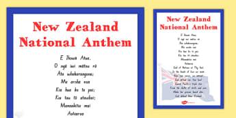 New Zealand National Anthem Poster - NZ National Anthem, National Anthem NZ