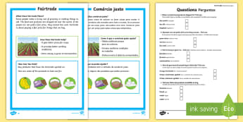 Fairtrade Differentiated Fact File English/Portuguese - KS1 Comprehensions, fairtrade, fair trade, equal trade, international, farmers, cocoa, bananas, tea,