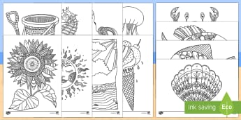 Seaside Mindfulness Colouring Sheets - Mindfulness Colouring