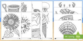 Coloriages anti-stress : Au bord de la mer - arts plastiques, arts, couleurs, cycle 1, cycle 2, cycle 3, mer, océan, plage, seaside