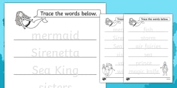 The Little Mermaid Trace the Words Worksheets - fine motor skills