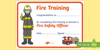 Fire Training Certificate - Fire Station Role Play Pack - Fire station Role Play, fire station, fire station resources, fire ser