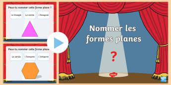 PowerPoint : Nommer les formes planes - Nommer les formes planes, formes planes, 2D, géométrie, formes, powerpoint, maths, mathématiques,