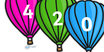 Counting in 2s on Hot Air Balloons (Plain) - Counting, Hot Air Balloon, Numberline, Number line, Counting on, Counting back, even numbers, foundation stage numeracy, counting in 2s