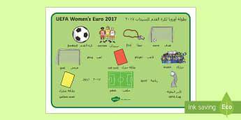 UEFA Women's Euro 2017 Word Mat Arabic/English - footie, football, ladies, trophy, competition, EAL Arabic