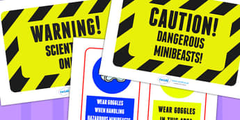 Minibeasts Investigation Lab Roleplay Warning Signs - labels