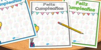 Spanish Happy Birthday Posters - spanish, happy birthday, posters