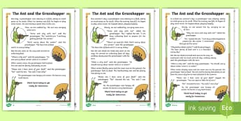 The Ant and the Grasshopper Differentiated Reading Comprehension Activity - KS1 Comprehensions, aesop's fable, moral, fable, KS1, key stage 1, key stage 1, year 1, year one, y