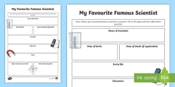My Favourite Scientist Writing Template - famous scientist, inventor, science, writing template, internet research, fact file,Irish