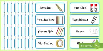 Ardal greadigol Labeli Enwau Golygadwy Drâr, Bachyn - brwshys, brushes, creonau, crayons, papur sida, tissue paper, glud, glue.,Welsh, Diwrnod cyntaf