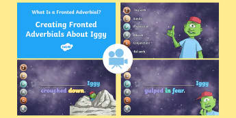 SPaG-Tastic! : Creating Adverbials About Iggy (What Is a Fronted Adverbial?) Video - sapg, gps, fronted adverbial, adverbial phrase, y4, year 4 comma, ispace, Twinkl Go, twinkl go, TwinklGo, twinklgo