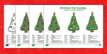 Karty Liczenie Świąteczne choinki - święta, boże narodzenie, bożego narodzenia, bożonarodzeniowy, mikołaj, choinka, dzieci, bombki