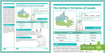 The Northern Territories of Canada Fact File - Earth Day, Northern Territories, Yukon, Northwest Territories, Nunavut, Canada's North, Canada, Env
