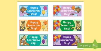 Scarecrow Party Treat Bag Cards - scarecrows, scarecrow party, party treat bag cards, fall, autumn, fall party, autumn party