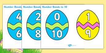 Easter Egg Number Bonds to 10 - Number Bonds, Easter, Easter Egg, Matching Cards, Clothing Cards, Number Bonds to ten, bible, egg, Jesus, cross, Easter Sunday, bunny, chocolate, hot cross buns