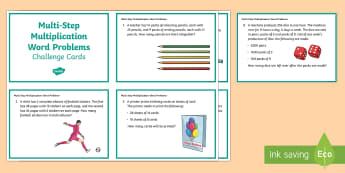 KS2 Multi Step Multiplication Word Problems Maths Challenge Cards - KS2, Maths, Solve problems, including missing number problems, involving multiplication and division