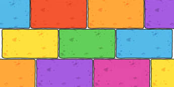 Editable A4 Multicoloured Bricks - display, bricks, learning wall