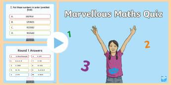 Junior Maths Quiz PowerPoint - Math, Junior, Grade 4, Grade 5, Grade 6, Place Value, Measurement, Temperature, Addition, Subtractio
