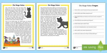 Die kluge Katze Leseverstehen Arbeitsblätter: Unterschiedliche Schwierigkeitsgrade - Halloween, Hexe, Katze, Oktober, Feier, Fest,,German