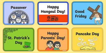 Calendar Celebration Day Flashcards - calendar, celebration day, flashcards, flash cards, celebration, day