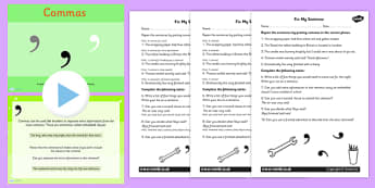 Using Commas PowerPoint Task Setter Activity Pack - punctuation